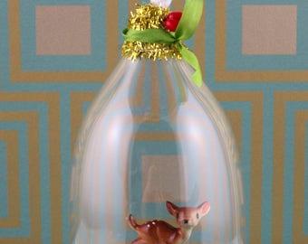 Handmade small cloche/diorama, sweet deer in garden ornament.