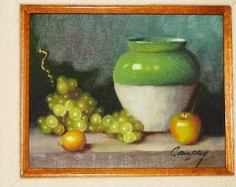 Vintage Fruit Oil Painting, Life, Fruit & Crock, Country Primitive, Folk Art, Still Life Oil Painting