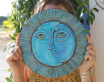 Decorative tile with sun and moon design, ceramic tile, outdoor wall art, bathroom wall decor, decorative tile, ceramic wall art #4 XL 30cm
