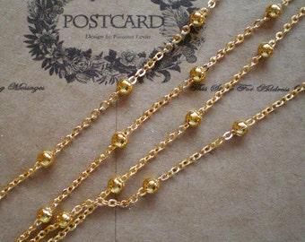 half sale-Gold brass -16 feet ball brass chain-jewelry handmade must-have-F262