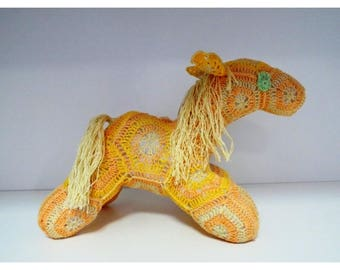 Lovely horse crocheted with the Happy African Flower Amigurumi horse gift for toddler accessory for a nursery or  kids bedroom CE certified