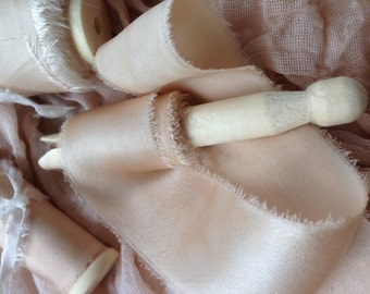 Lovington: Creamy Ivory - plant dyed silk ribbon