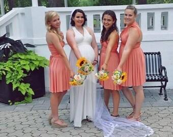 Peach Coral short Bridesmaid dress, infinity Dress, Convertible Dress, spring dress, honeymoon beach dress, bridesmaid gown, wrap dress