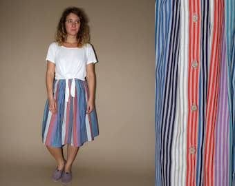 60's vintage women's Louis London colorful striped pleated high waisted midi skirt