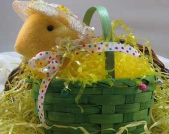EASTER DECORATION, Chicken in a Basket, Baby Chick, Stuffed Chick, Spring Decoration, Green Basket