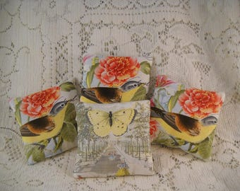 French Market Lavender Sachets Reverse to Spring Birds Shabby Cottage Chic
