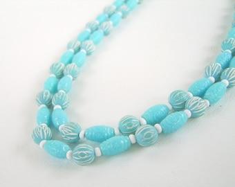 Vintage Turquoise & White Necklace Bead Strand 70's Bright Aqua