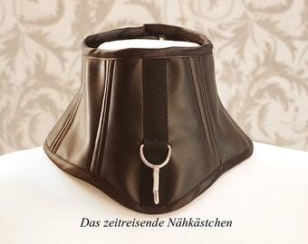 Black leather neck corset with snap hook and D-Ring