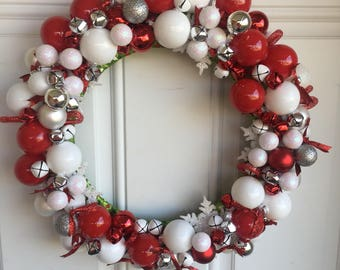 Red, white and silver wreath