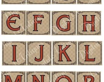Vintage Circus Red Alphabet Monograms Digital Download