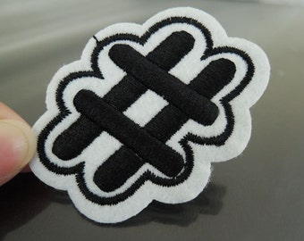 Hashtag # Patches - Iron on or Sewing on Patch # Symbol Letter Patches Black and White Patch Embellishments Embroidery fonts
