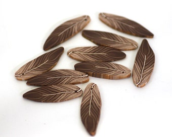 Feather Beads, Polymer Clay Sparrow Feather Beads, Brown Beads 10 Pieces
