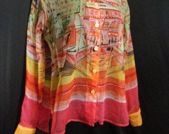 Wearable Art Blouse Vintage Nautical Batik Urban Sheer Beachy Half Moon Bay Top Boats ML