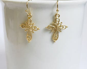 Silver cross earrings, filgree dangle earrings, graduation gift, birthday gift, wedding,