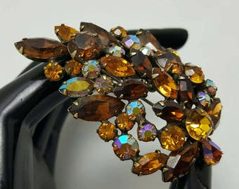 Brown & Topaz Rhinestone Pin