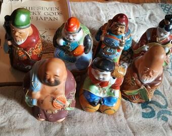 SALE!!Vintage set The Seven Lucky Gods of Japan/Japanese statuary/Buddha/Gods/Goddesses/Wedding gifts/yoga/unique gifts/Buddhism