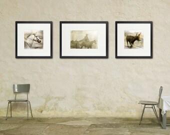Gilded Cowboy Photo Set, Neutral Colors, Horse Art, Large Wall Art, Set of Three 3 Prints