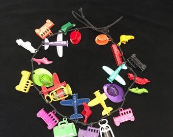 Vintage Cracker Jacks Toys Colorful Metal Charms Necklace- Cracker Jill 1980's