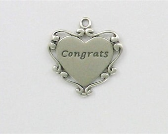 Sterling Silver Ornate Congrats Heart Charm