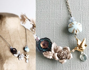 flower necklace silver rose necklace gold bird necklace dainty necklace mori girl jewelry bohemian necklace vintage style jewelry EARLY DAWN