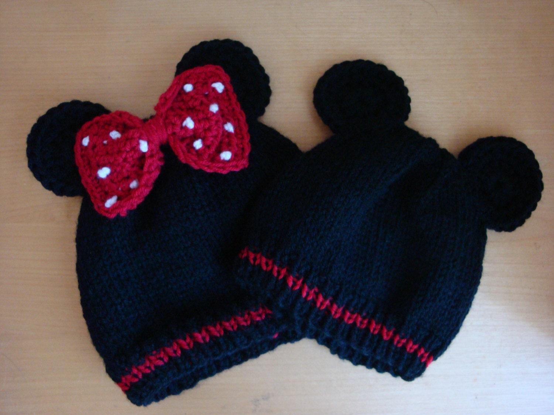 Mickey und Minnie Maus inspiriert Baby Mützen Hand stricken