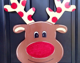 Reindeer Door Hanger, Christmas Door Hanger, Holiday Door Hanger, Custom Door Hanger