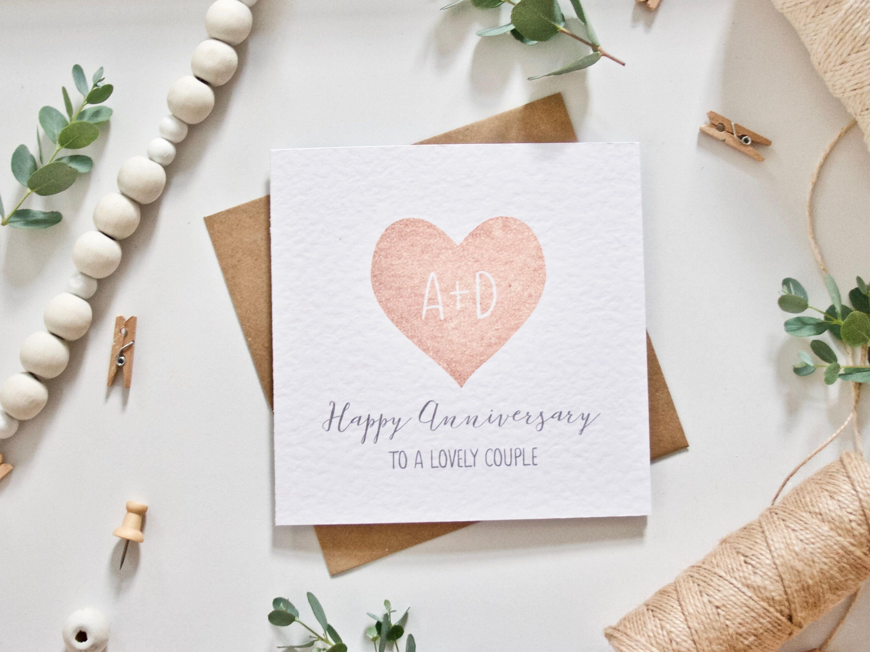 Printed personalised wedding anniversary card heart with