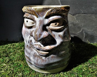 MUG: Large Rutile Blue Face Mug #18 |  Wheel Thrown Hand Sculpted  Stoneware Pottery Coffee Mug