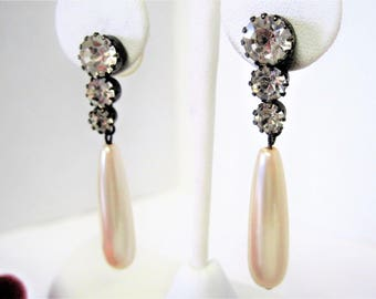 Faux Pearl Earrings, 3 Rhinestones, Pearl Lobe Dangles, Wedding Drop Pierced Earrings