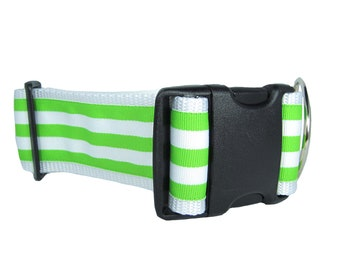 Bright Green Stripe Dog Collar, 2 inch wide, available in 4 sizes, lime, ribbon, nylon, small, medium, large, XL, XXL, stripes, striped