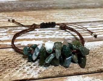 Moss Agate Bracelet / Healing stone Bracelet / Gemstone Bracelet / Chakra Bracelet / Healing Crystal Bracelet