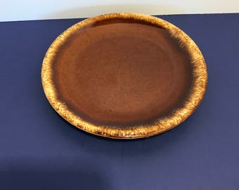 Vintage Hull USA Brown Drip Pottery Bread and Butter Plate Retro Rustic Dining Kitchen Dishes