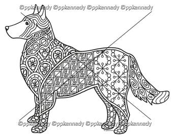 Dog Zentangle Coloring Page