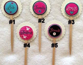 Set Of 12 Inspirational  Cupcake Toppers (Your Choice Of Any 12, Can Be Mixed)