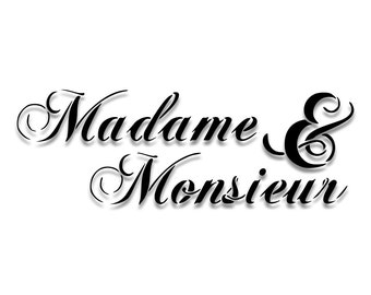 Madame and Monsieur Script / Cursive Sign Stencil // wood sign // wall decor // painting // craft