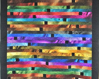 Electric Stripe Jewel-tone Quilt