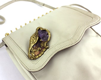 Cream Vintage Vinyl Purse with Amethyst & Gold Metal Detail and Notebook Coil