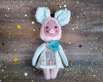Plush Pig handmade toys plush toy pink pig primitive toy