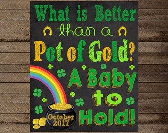 St. Patrick's Day Pregnancy Announcement, St Patrick's Day pregnancy chalkboard, pot of gold, rainbow, pregnancy announcement sign, reveal