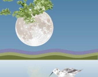Painting ACEO Shorebird in Moonlight, Original Graphic Design Art Card