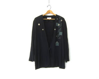 Black Rayon Crinkle Blazer Oversized Patched Tunic Top Slouchy Cardigan Overshirt 1990s Open Fit Shirt Jacket Vintage Womens size XL 14