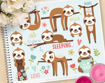 Cute Sloths Clipart, Sleeping, sloth, tree branch, spring flowers, kawaii, valentine, Commercial Use, Vector clip art, SVG Files