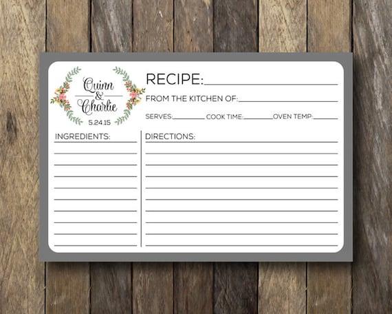 personalized recipe card printable recipe cards bridal
