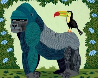 iOTA iLLUSTRATION - The Gorilla and The Toucan - Limited Edition - Children's Animal Art - illustrated Print