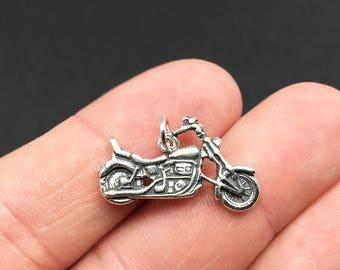 Sterling Silver Motorcycle Charm, Cruiser, .925 Silver, DIY, Bracelet Charms, Nickel Free (C422)