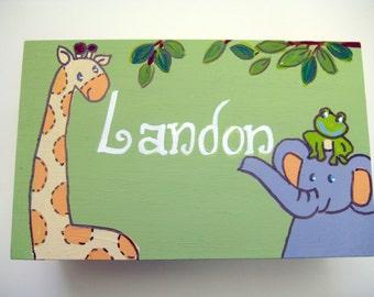 jungle theme keepsake box,personalized, customized,personalized message, personalized new baby gift, boxes for boys,kids, children's boxes,