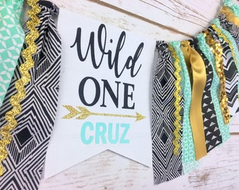WILD ONE Black Teal Gold High Chair Banner, I am One Banner, 1st Birthday Banner, First Birthday Boy, Birthday Banner, Boy First Birthday