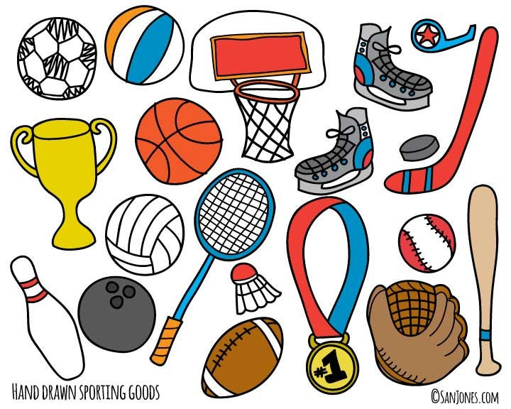 sports clip art hand drawn clip art sporting goods clip art rh etsystudio com clipart for sports day black and white free sports clipart for teachers