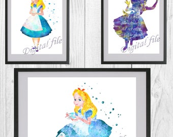 Alice's Adventures in Wonderland, Disney, print, poster, home decor, nursery room, wall decor, watercolor, art, 3 digital files