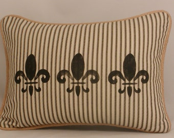 Burlap and Ticking Pillow Cover, Fleur de Lis Pillow, French Country Pillow Shabby, Black and White, Hand-Stenciled, Burlap Pillow  12x16